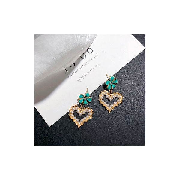 Korean popular jewelry drop oil vintage palace emerald green flower love earrings