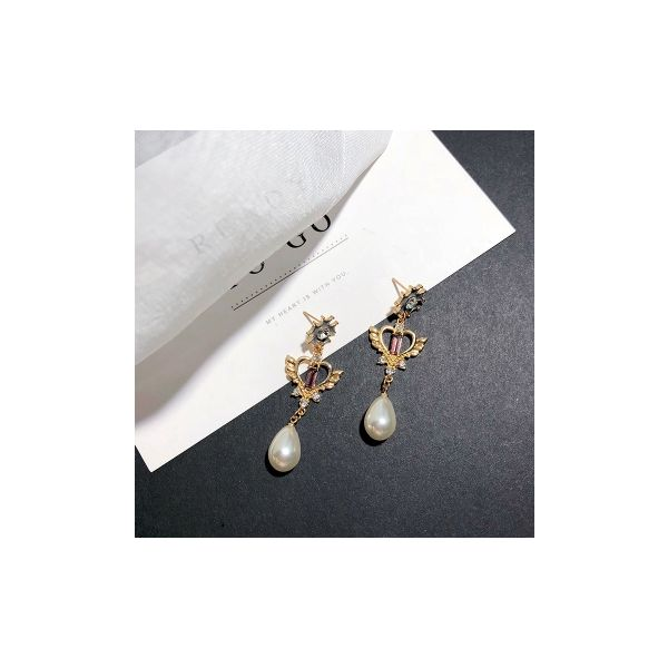 Korean pop jewelry pearl flower earrings vintage palace love earrings