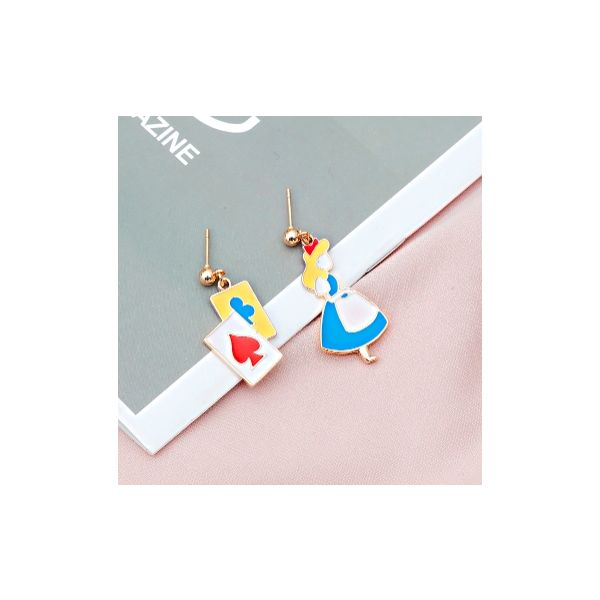 Japan and South Korea simple cartoon cute girl poker geometric earrings earrings