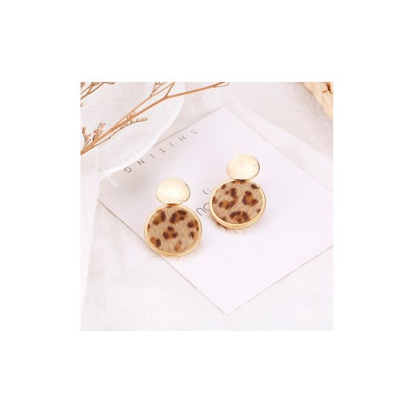 Korean version of the new leopard personality fashion geometric shape plush temperament earrings