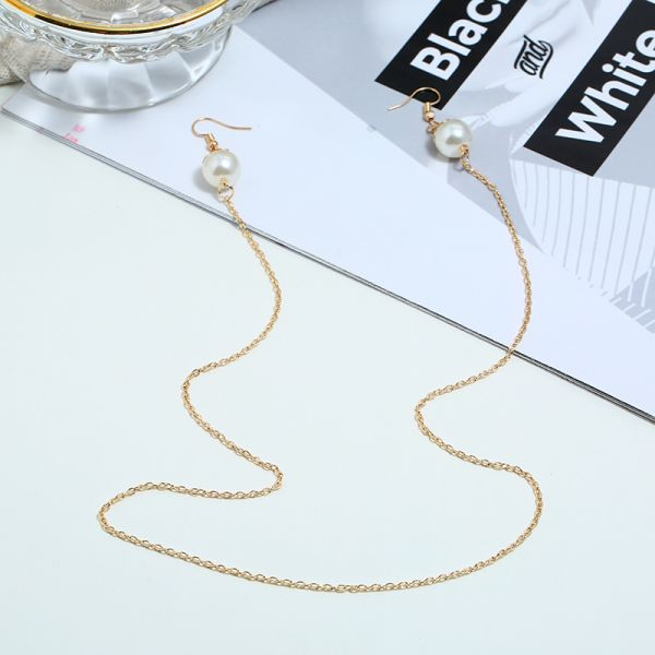 Cold wind pearl long earrings necklace