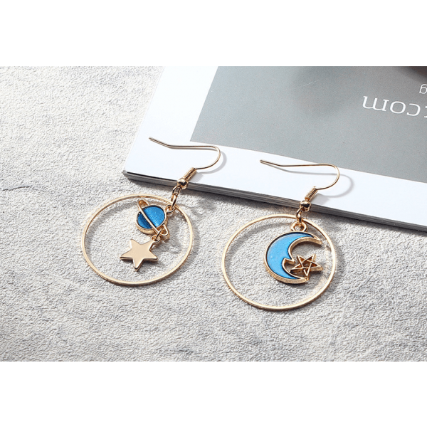 Blue star earrings small fresh long asymmetric earrings  fashion earrings