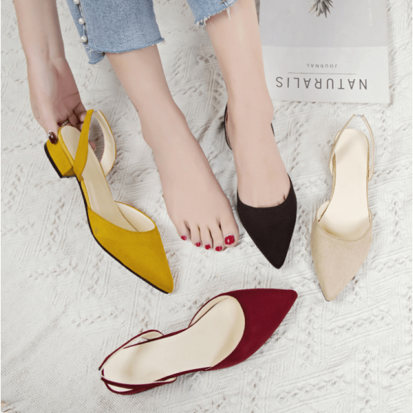2019 Spring pointed thick with sandals suede low heel casual sandals
