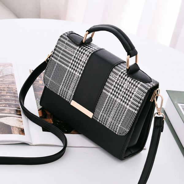 Grey check stripe fashion slant across single shoulder bag