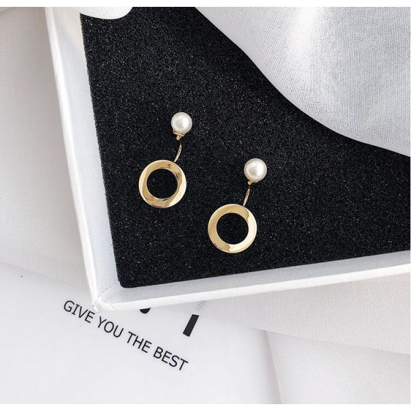 Pearl metal round shape earrings girl temperament earrings drop