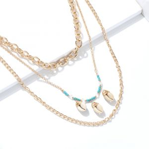Gold Chain Multilayer Necklace Bohemian Rice Bead Shell Necklace
