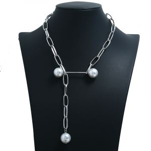 Large cross chain pearl clavicle chain
