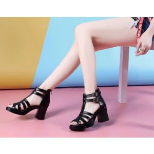 Korean version of leather leisure thick heel fish mouth high heel waterproof table lady sandals