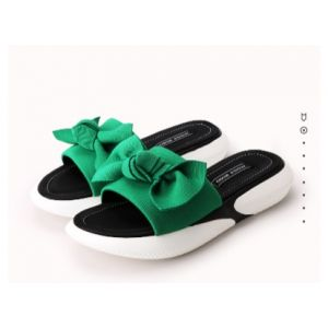 Summer elastic cloth bow leather muffin bottom lady sandals