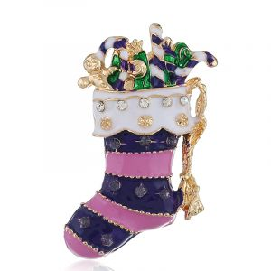 Purple Christmas stockings alloy brooch
