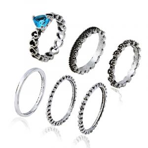 Heart-shaped flowers 6-piece set of rings