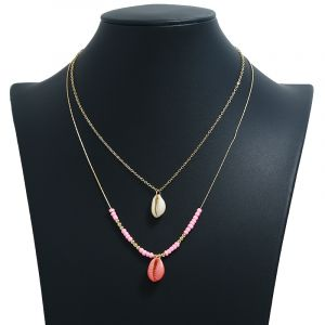 Natural shell horn scallop pendant multi-layer necklace