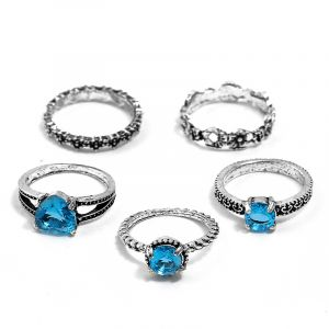 Heart-shaped star gemstone 5 piece set ring