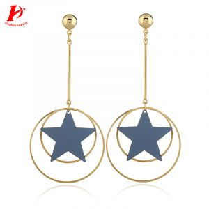 Cute candy color five-star earrings