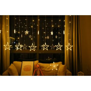 MAMAMYA 138 LED Stars Curtain String Lights with 8 Flashing Modes for Diwali Festival Christmas Party Decoration (Warm Light)