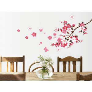 MAMAMYA Wall Stickers Pink Flowers for Bedroom Home Decoration Under 150