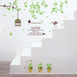 MAMAMYA Wall Stickers Birdcage Leaves for Bedroom Home Decoration Under 150