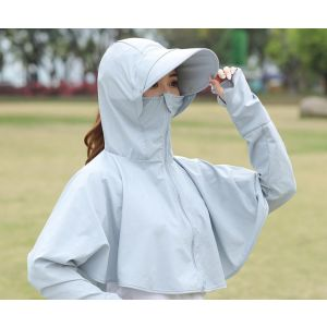 Outdoor solid color cute  hooded anti-UV coat