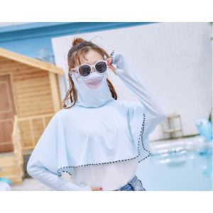 Mesh breathable mask integrated sun protection shawl