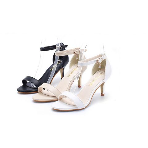 Buckle a word with high heel, round head, open toe sandals