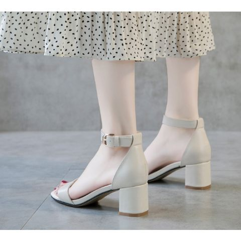 Thick and high heels buckle leather open-toed fish mouth summer ladies' sandals