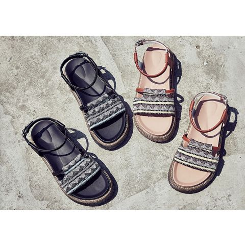2019 summer new style retro hundred thick-bottomed muffin Roman sandals