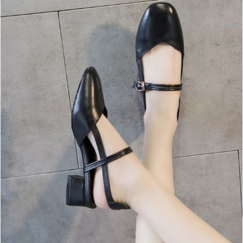 Square head middle heel shallow mouth with heel lady sandals