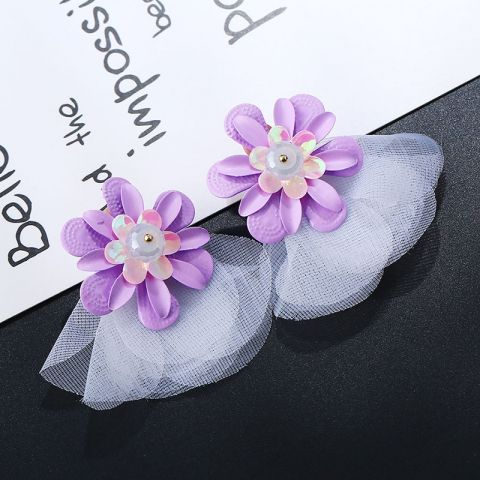 Purple fabric flower earrings