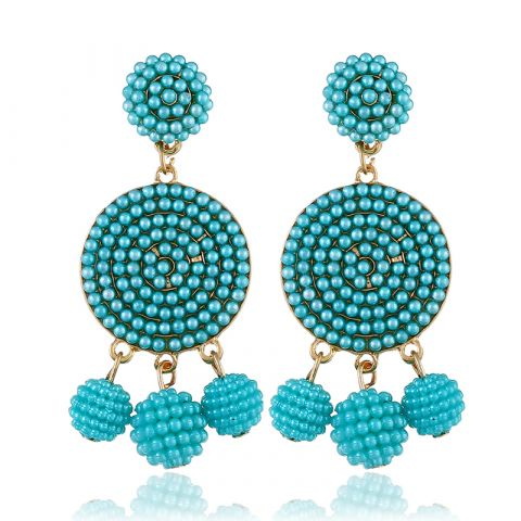 Round spherical rice beads earrings