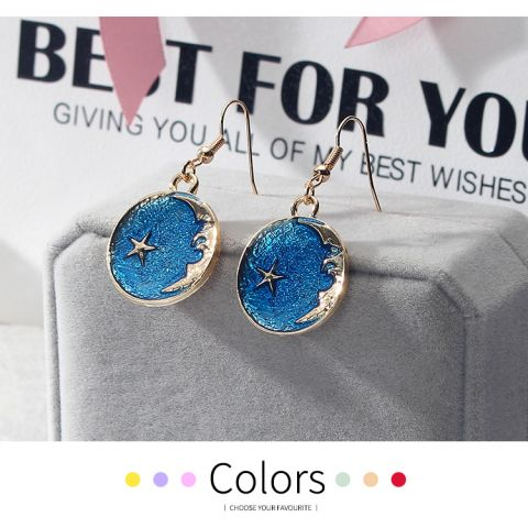 Girl heart blue star moon planet earring  fresh asymmetric earrings