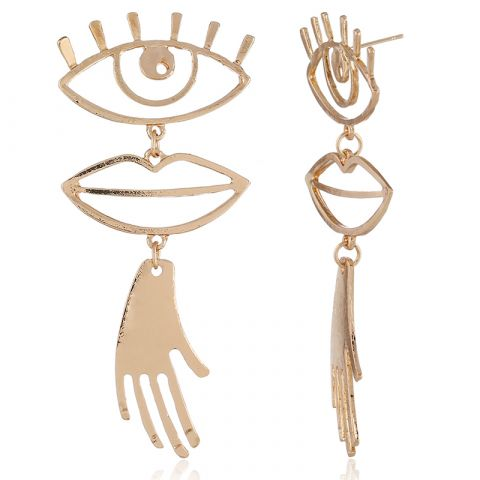 Eyes mouth hand earrings