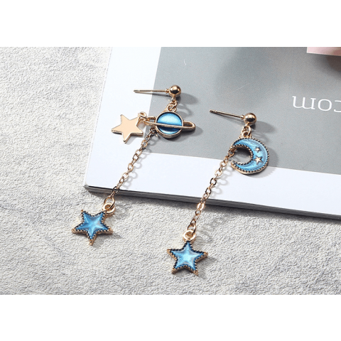 Blue star series asymmetrical fashion earrings