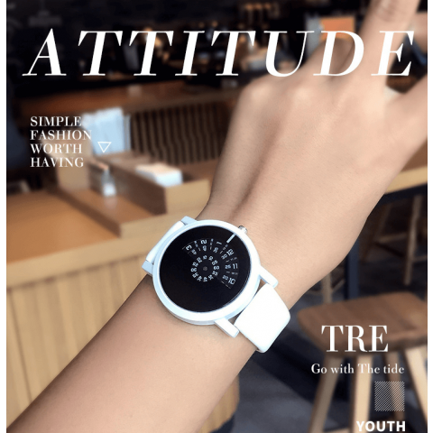 Fashion concept features  watch cool personality cool black leather watchband