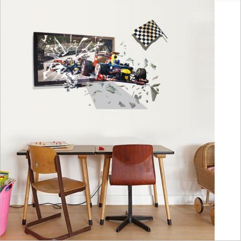 MAMAMYA 3D Wall Stickers Racing Formula for Bedroom Home Decoration Under 150