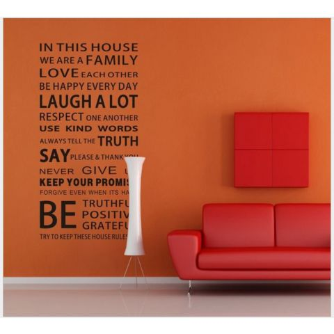 MAMAMYA Wall Stickers English Words for Family for Bedroom Home Decoration Under 150