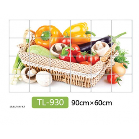 MAMAMYA Kitchen Anti-Oil Wall Sticker,Veg, Anti-fouling High-Temperature Self-Adhesive Wall/Table Sticker(60 * 90cm)