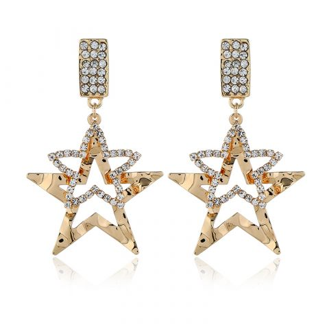 Rhinestone three-dimensional star pearl earrings