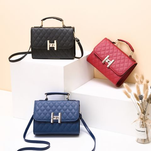 Stylish texture small square bag handbag single shoulder bag